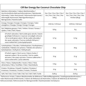 CLIF Bar Energy Bar Box 12 x 68g, Coconut Chocolate Chip